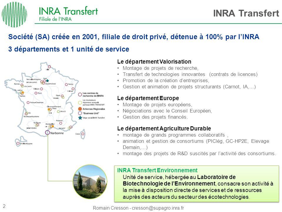 INRA Transfert Société (SA) créée en 2001, filiale de droit privé, détenue à 100% par l'INRA. 3 départements et 1 unité de service.