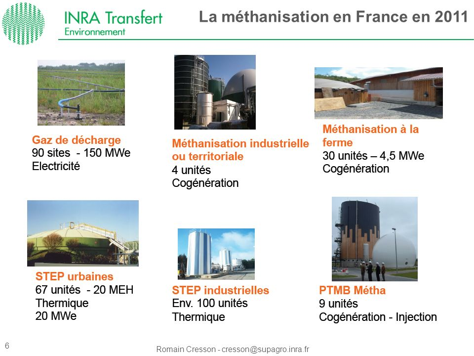La méthanisation en France en 2011