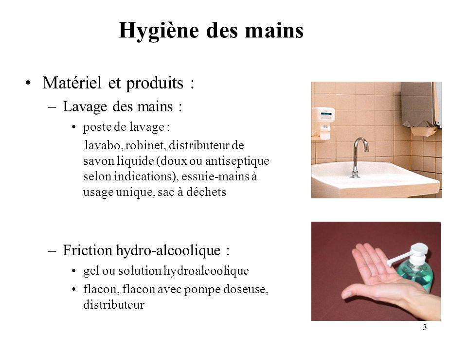Hygiène des mains Matériel et produits : Lavage des mains :