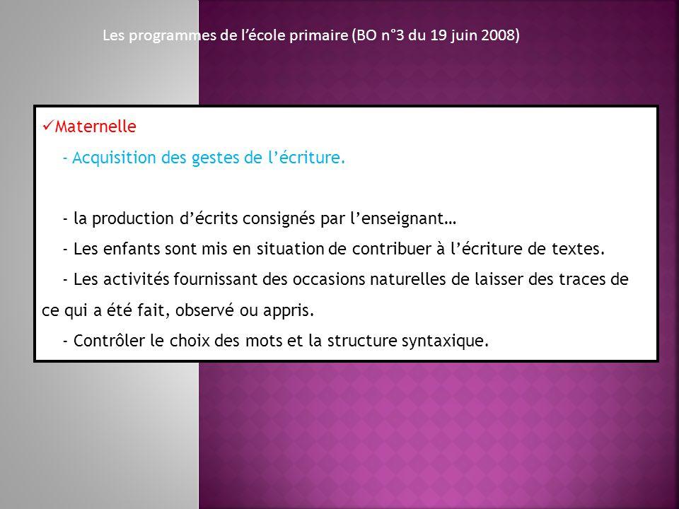 Les programmes de l'école primaire (BO n°3 du 19 juin 2008)