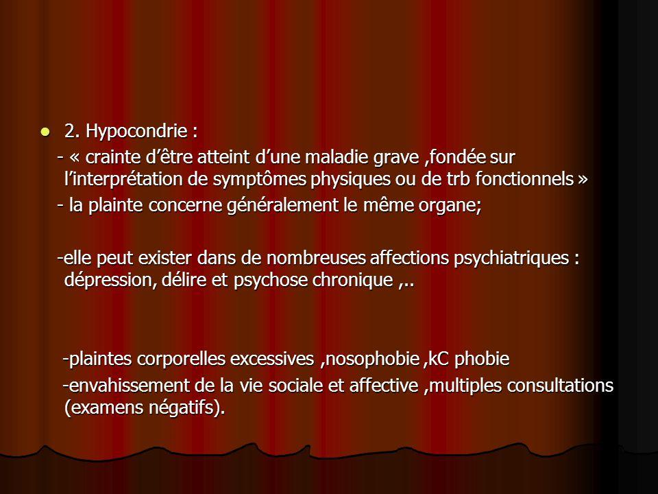 2. Hypocondrie : - « crainte d'être atteint d'une maladie grave ,fondée sur l'interprétation de symptômes physiques ou de trb fonctionnels »