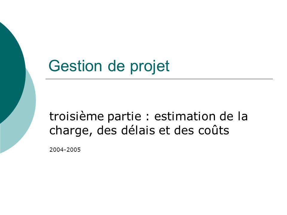 Gestion de projet troisième partie : estimation de la charge, des délais et des coûts 2004-2005
