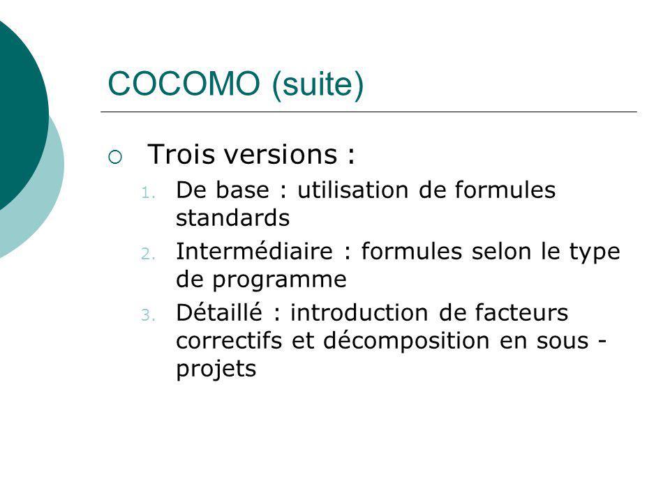 COCOMO (suite) Trois versions :