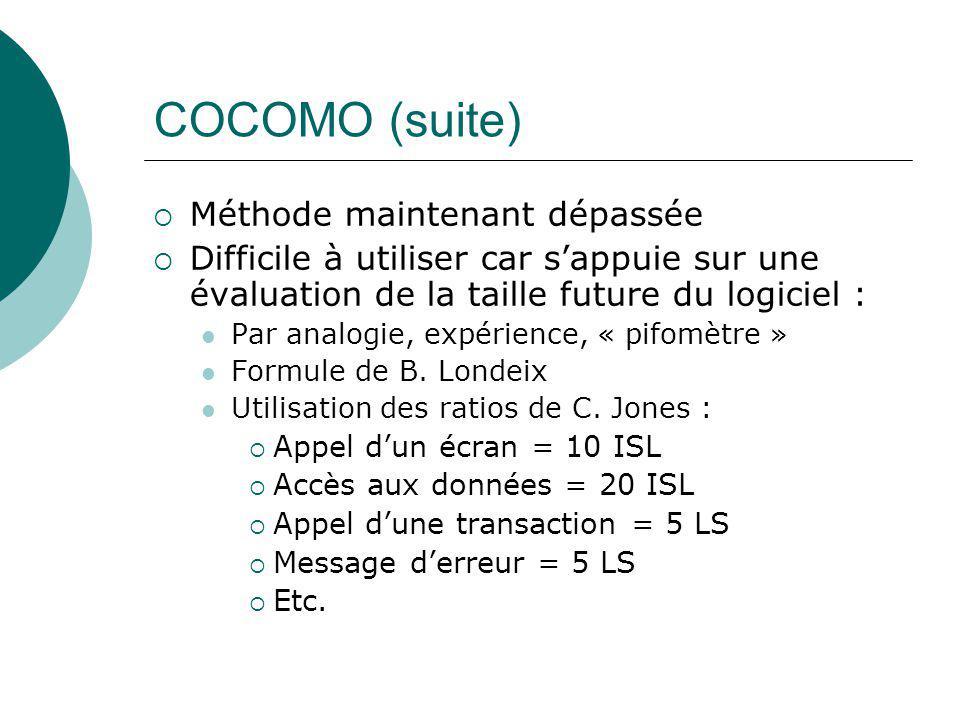 COCOMO (suite) Méthode maintenant dépassée