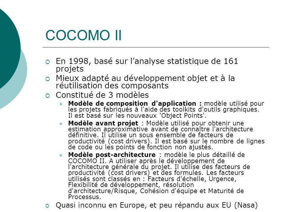 COCOMO II En 1998, basé sur l'analyse statistique de 161 projets
