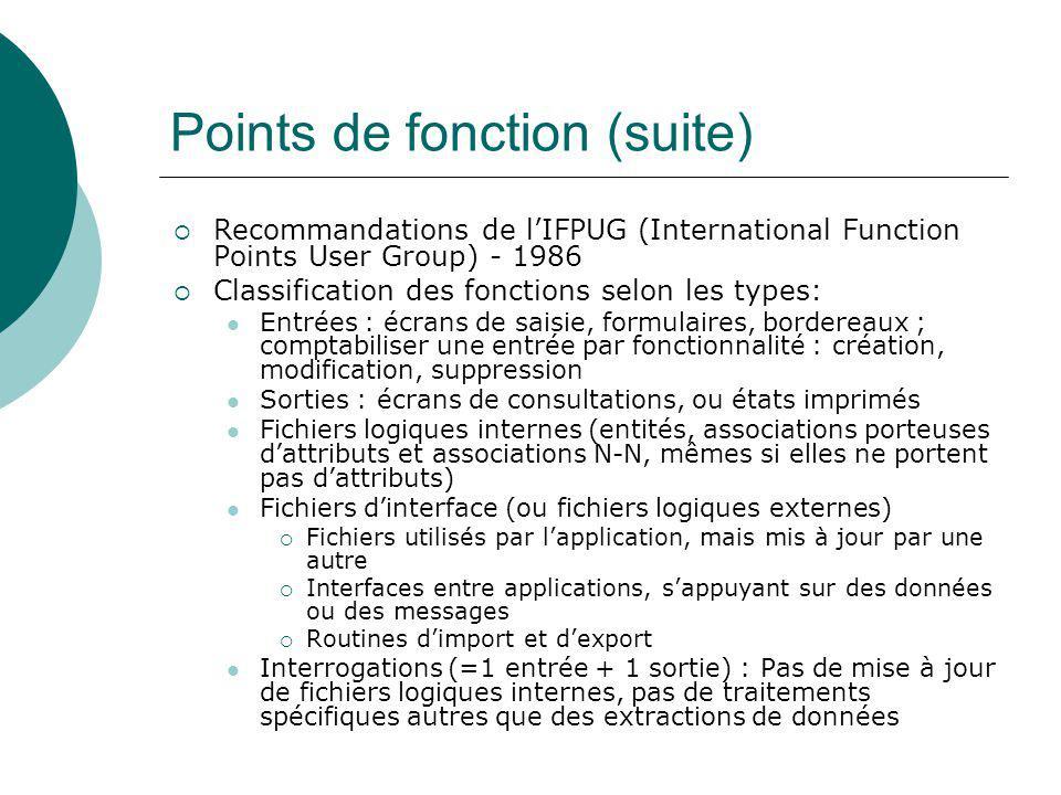 Points de fonction (suite)