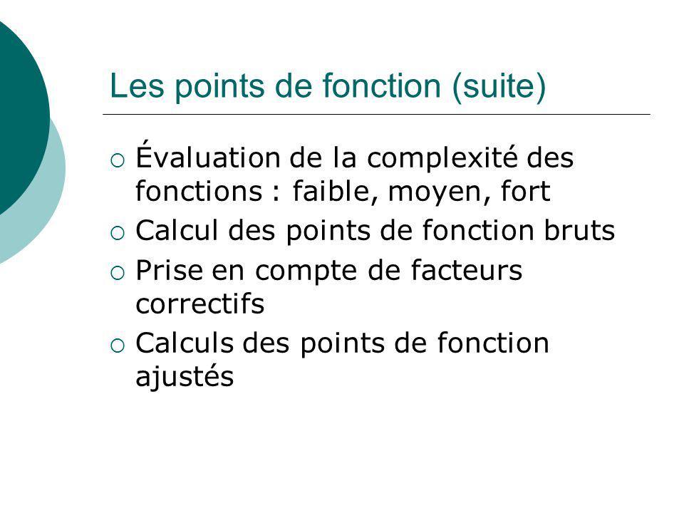 Les points de fonction (suite)