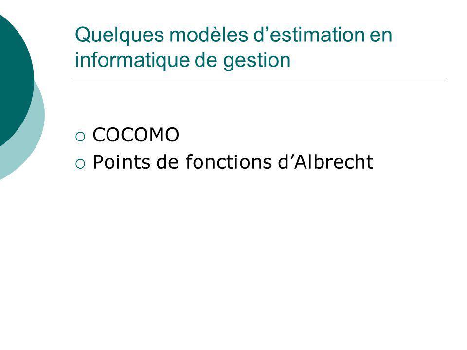 Quelques modèles d'estimation en informatique de gestion