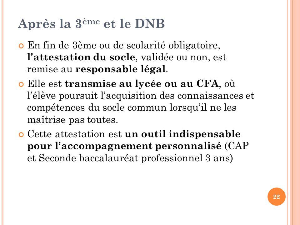 Après la 3ème et le DNB En fin de 3ème ou de scolarité obligatoire, l'attestation du socle, validée ou non, est remise au responsable légal.