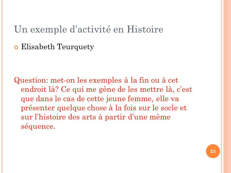 Un exemple d'activité en Histoire