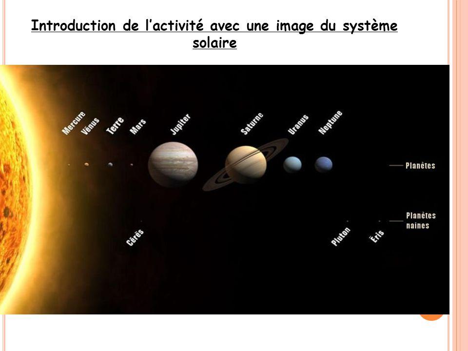 Introduction de l'activité avec une image du système solaire