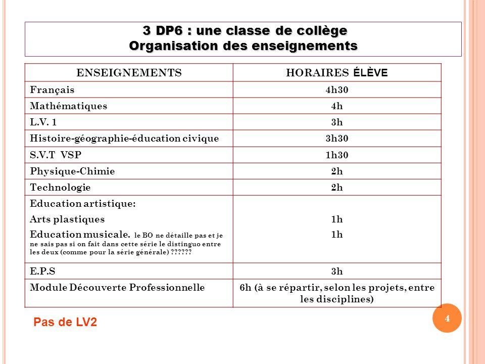 3 DP6 : une classe de collège Organisation des enseignements