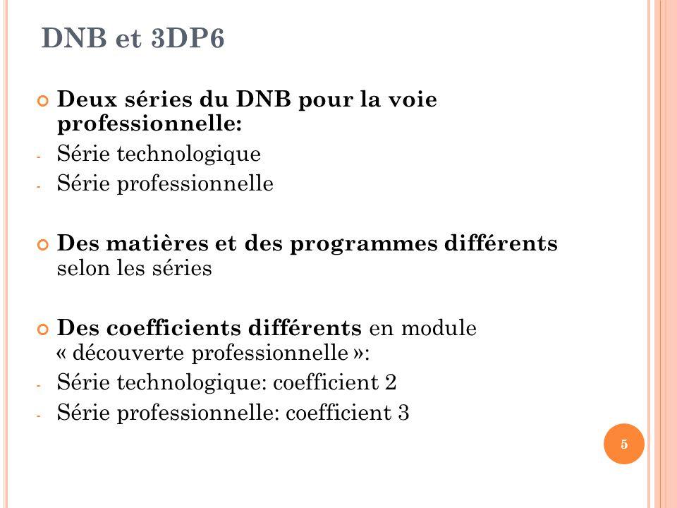 DNB et 3DP6 Deux séries du DNB pour la voie professionnelle: