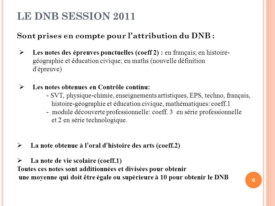 LE DNB SESSION 2011 Sont prises en compte pour l'attribution du DNB :