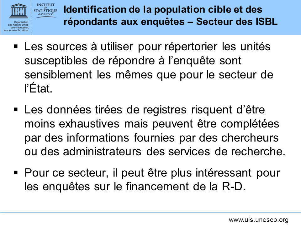 Identification de la population cible et des répondants aux enquêtes – Secteur des ISBL