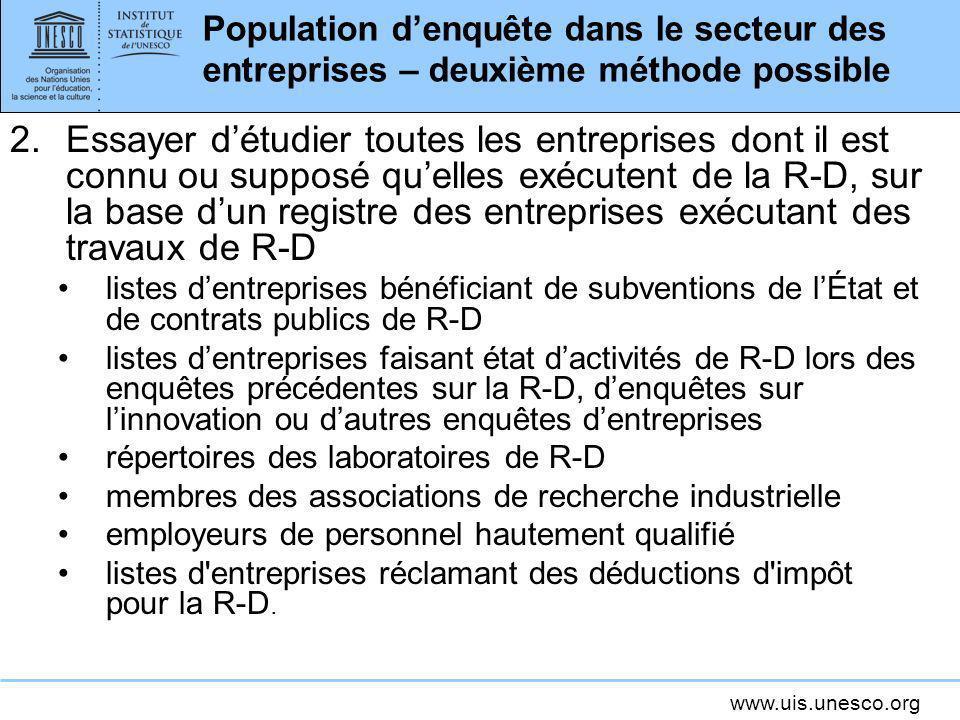 Population d'enquête dans le secteur des entreprises – deuxième méthode possible