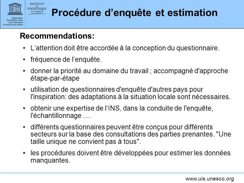 Procédure d'enquête et estimation