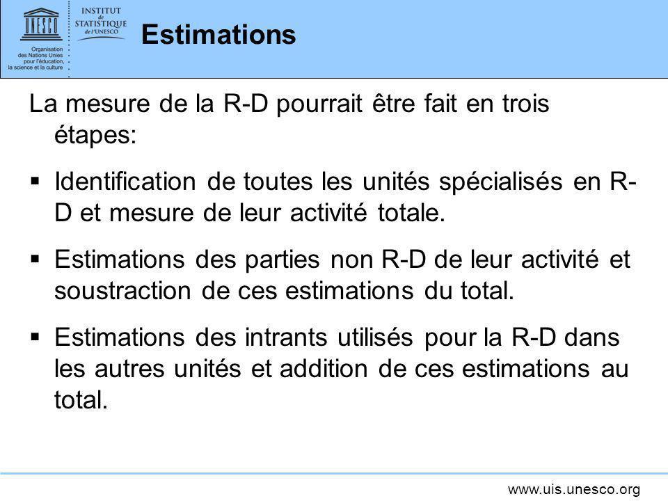 Estimations La mesure de la R-D pourrait être fait en trois étapes: