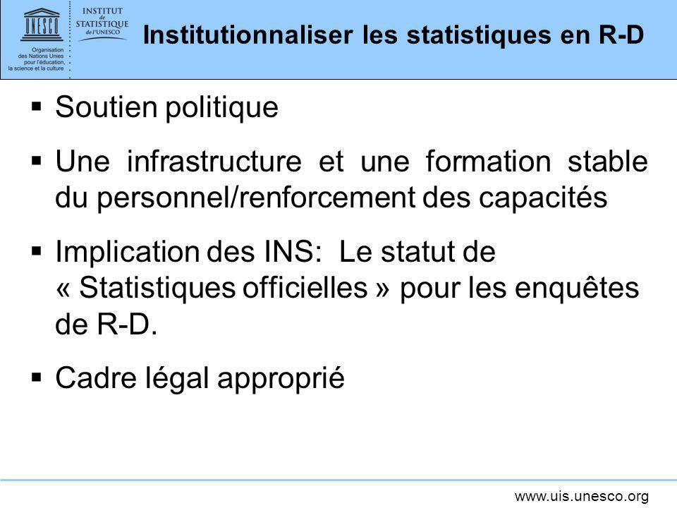 Institutionnaliser les statistiques en R-D