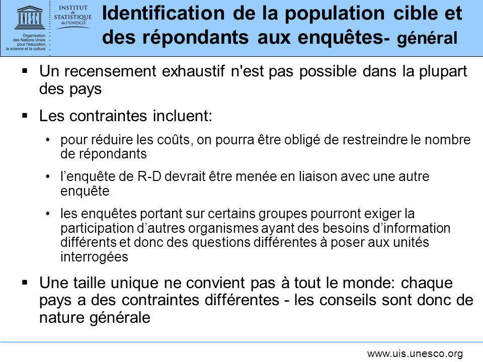Identification de la population cible et des répondants aux enquêtes- général