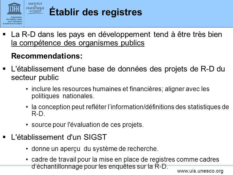 Établir des registres La R-D dans les pays en développement tend à être très bien la compétence des organismes publics.