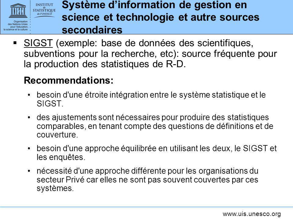 Système d'information de gestion en science et technologie et autre sources secondaires