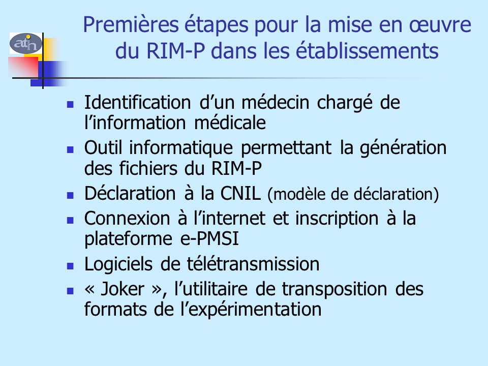 Premières étapes pour la mise en œuvre du RIM-P dans les établissements
