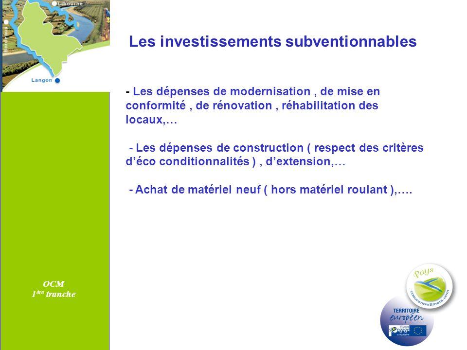 Les investissements subventionnables
