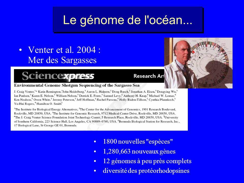 Le génome de l océan... Venter et al. 2004 : Mer des Sargasses