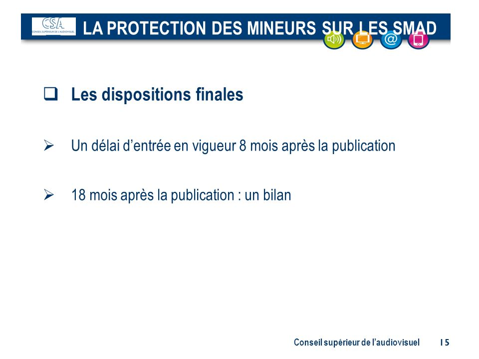 LA PROTECTION DES MINEURS SUR LES SMAD