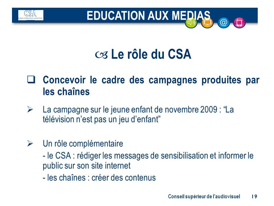 Le rôle du CSA EDUCATION AUX MEDIAS