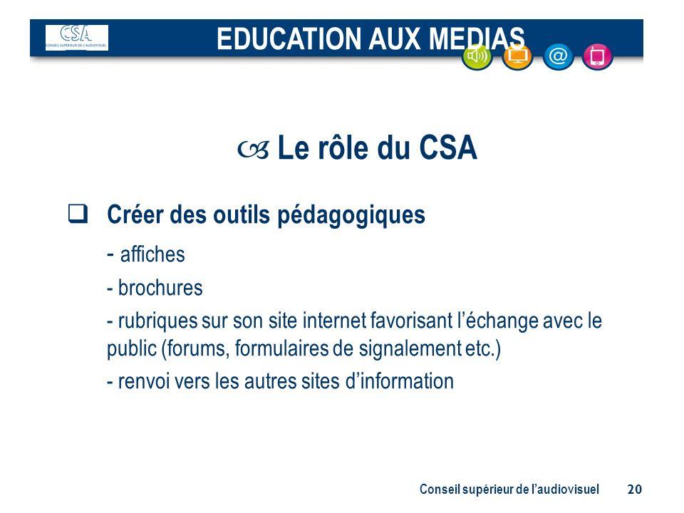 Le rôle du CSA EDUCATION AUX MEDIAS Créer des outils pédagogiques