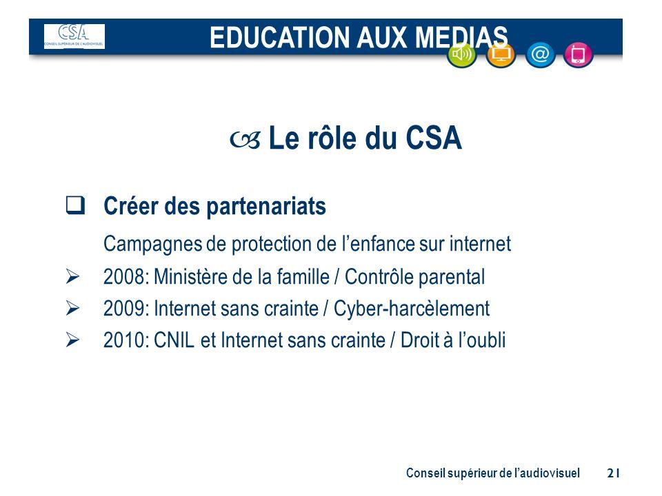 Le rôle du CSA EDUCATION AUX MEDIAS Créer des partenariats