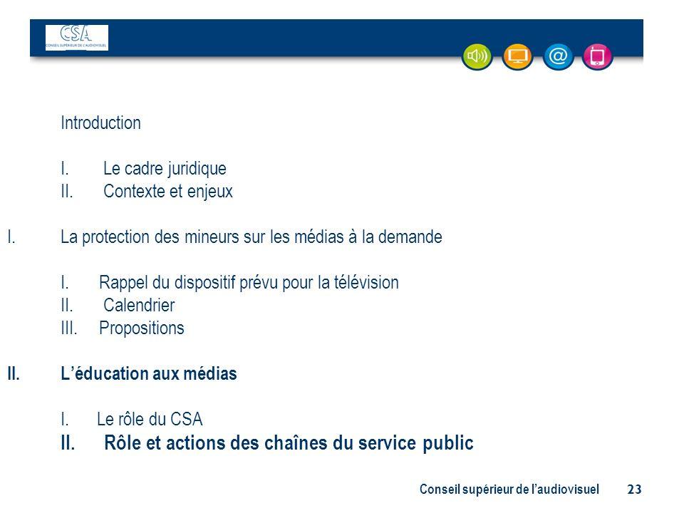 II. Rôle et actions des chaînes du service public