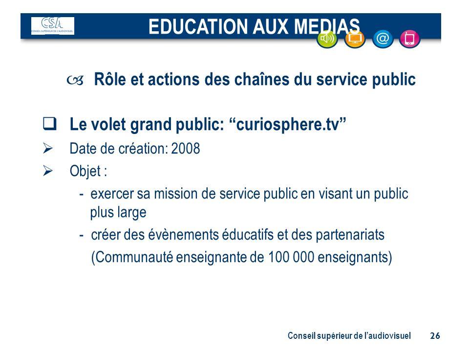 Rôle et actions des chaînes du service public