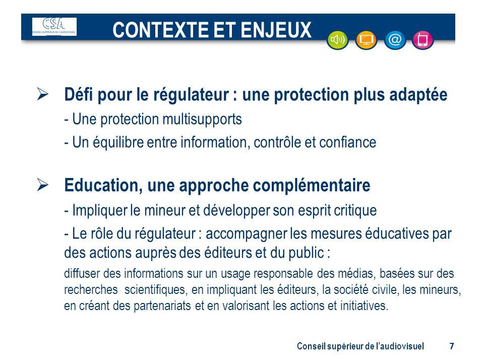 CONTEXTE ET ENJEUX Défi pour le régulateur : une protection plus adaptée. - Une protection multisupports.