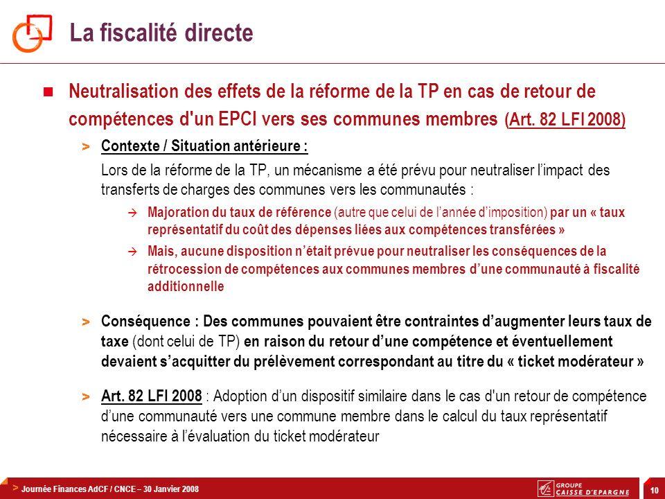 La fiscalité directe