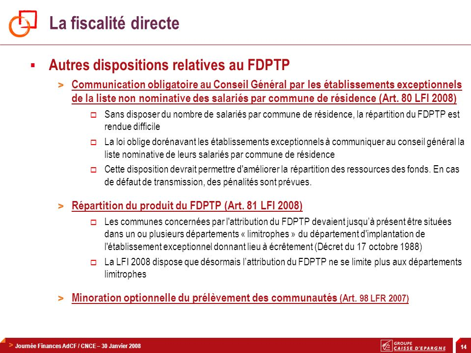 La fiscalité directe Autres dispositions relatives au FDPTP