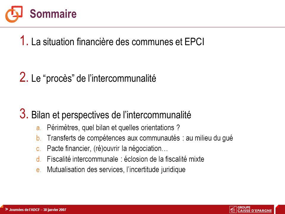 1. La situation financière des communes et EPCI
