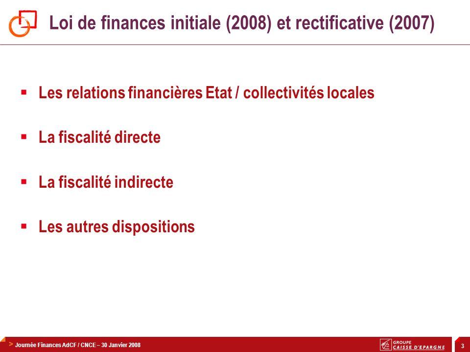 Loi de finances initiale (2008) et rectificative (2007)