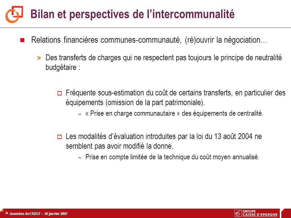 Bilan et perspectives de l'intercommunalité