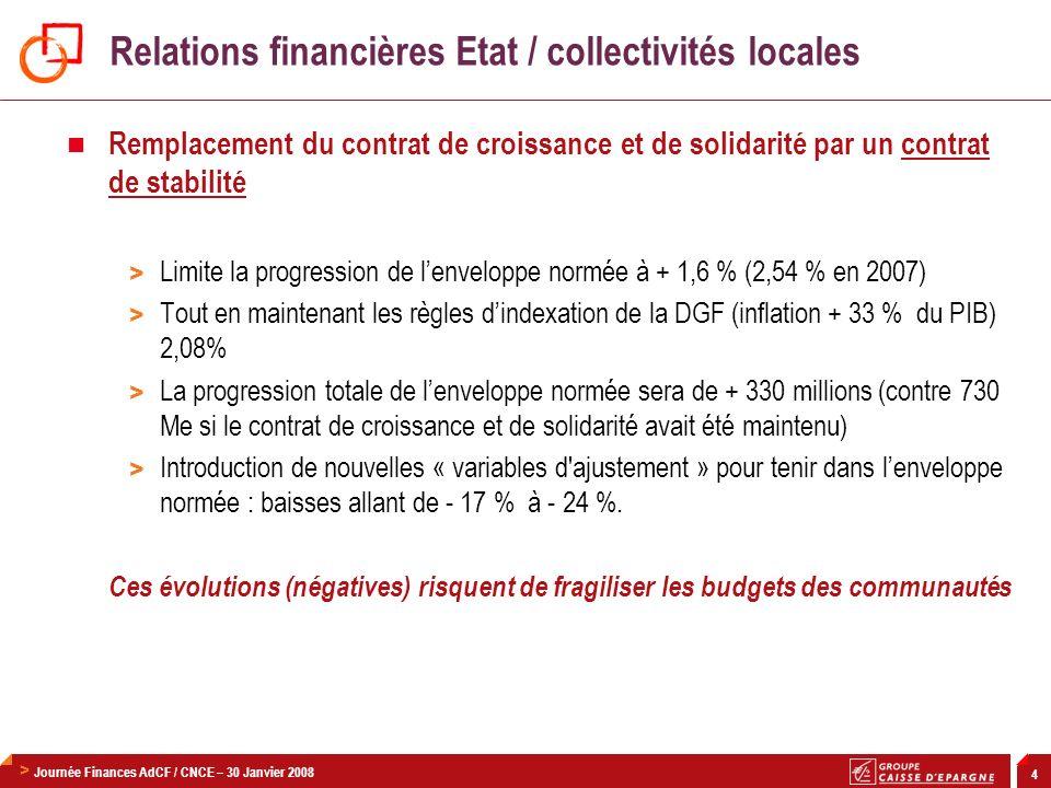 Relations financières Etat / collectivités locales