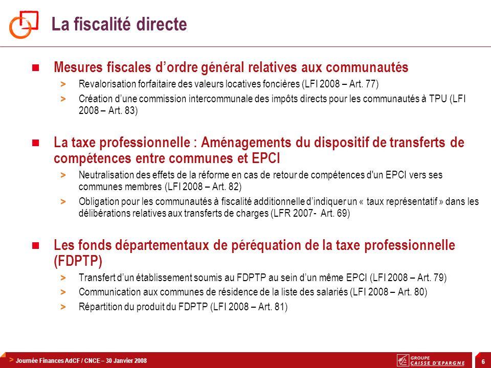 La fiscalité directeMesures fiscales d'ordre général relatives aux communautés.