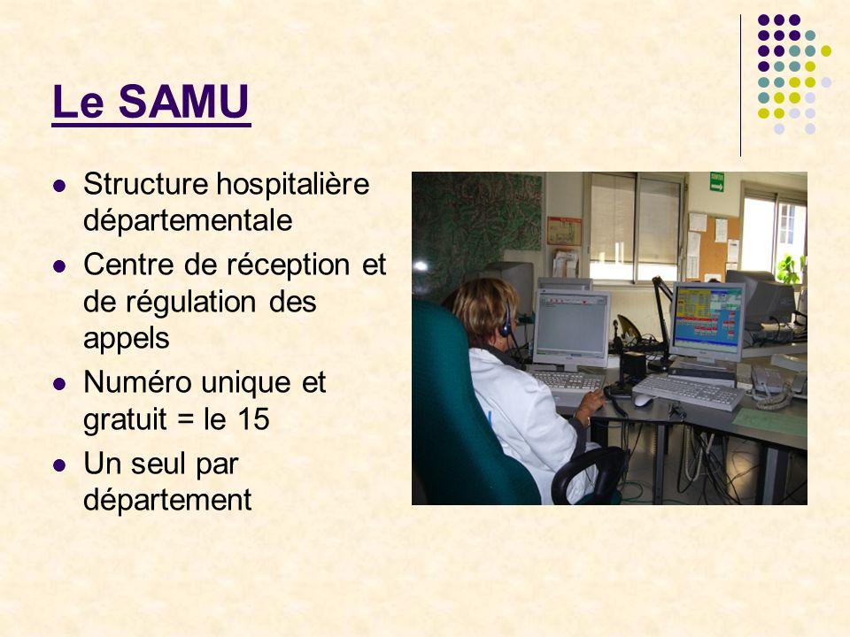 Le SAMU Structure hospitalière départementale