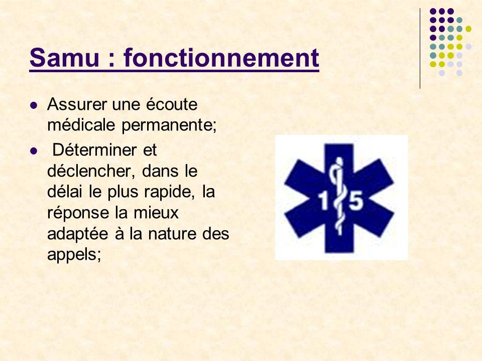 Samu : fonctionnement Assurer une écoute médicale permanente;