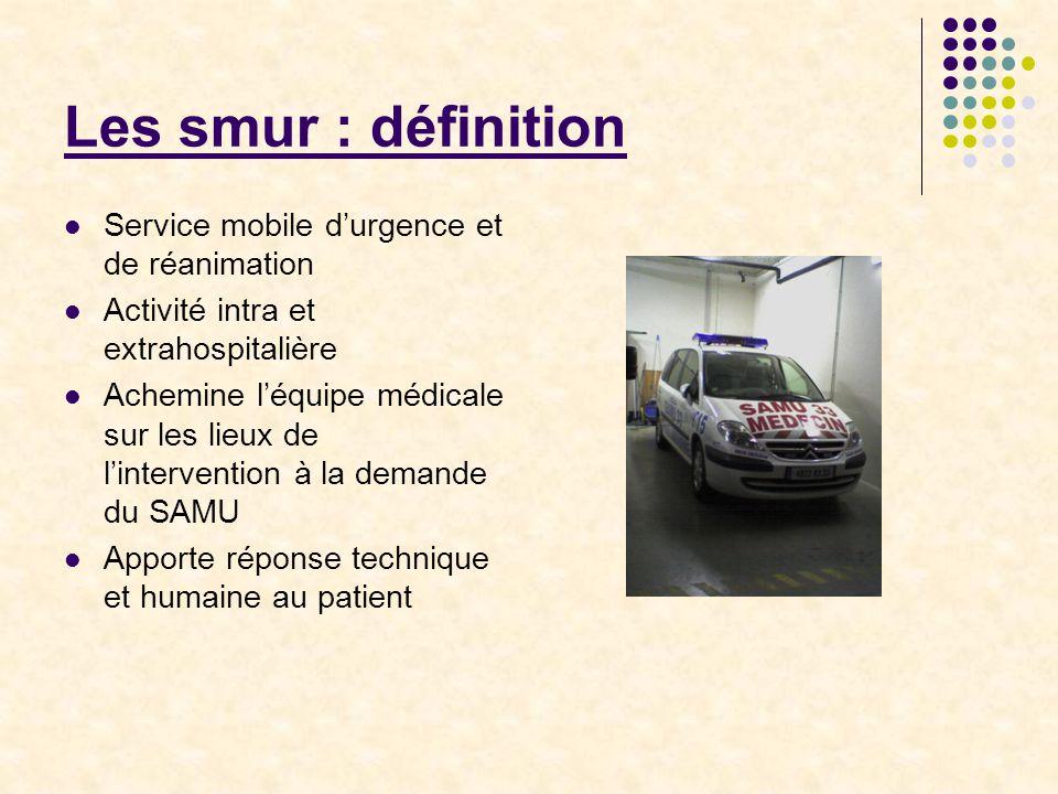 Les smur : définition Service mobile d'urgence et de réanimation