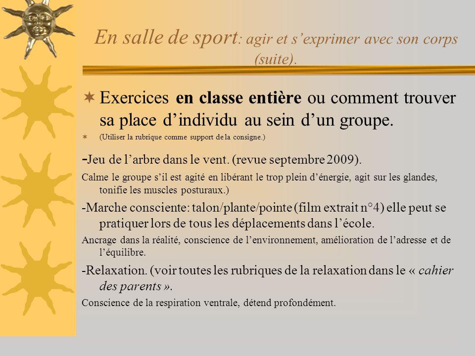 En salle de sport: agir et s'exprimer avec son corps (suite).