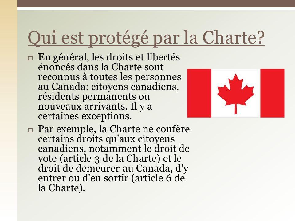 Qui est protégé par la Charte