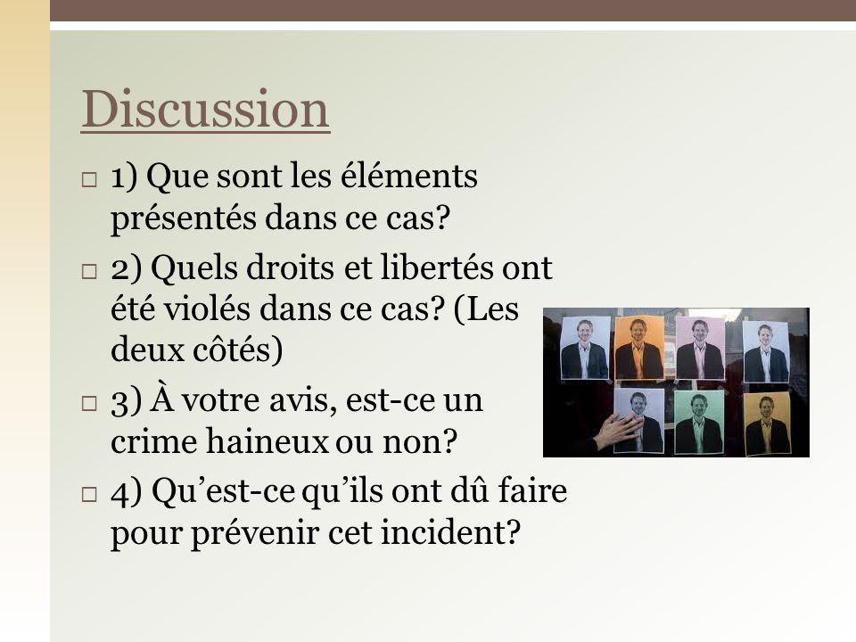 Discussion 1) Que sont les éléments présentés dans ce cas