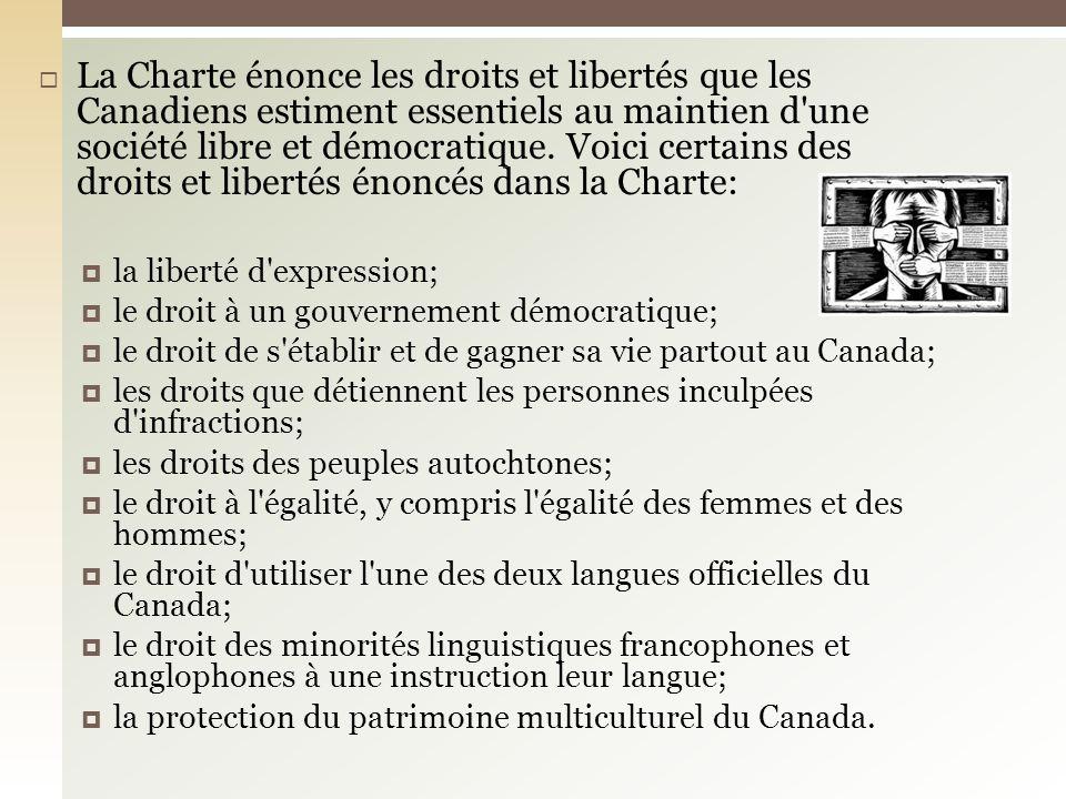La Charte énonce les droits et libertés que les Canadiens estiment essentiels au maintien d une société libre et démocratique. Voici certains des droits et libertés énoncés dans la Charte: